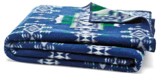 Heritage Woven Blanket, Indigo/Forest