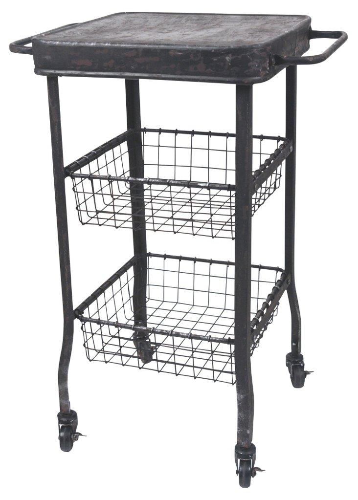 Galvanized Rolling Storage Cart