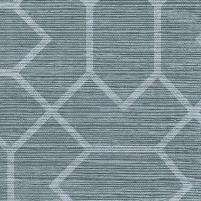 Bravais Grasscloth, Blue-Gray