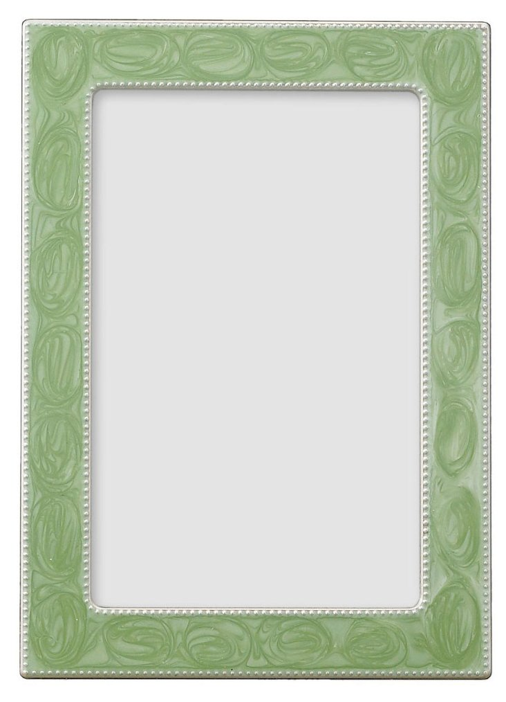 S/2 Swirled Sage Enamel Frames, 4x6