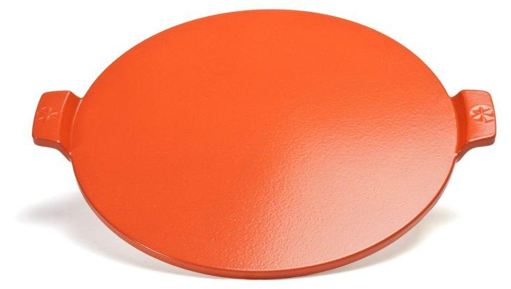 """14.5"""" Round Glazed Pizza Stone, Red"""
