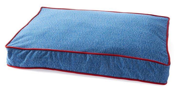 Reversible Embossed Pet Bed, Denim/Red
