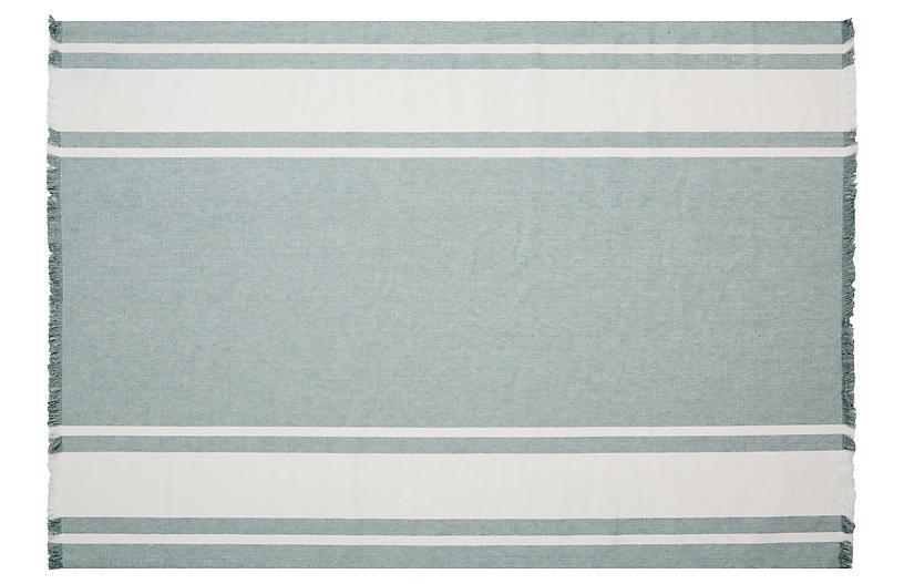 Belgian Linen Rug, Sage/Oyster