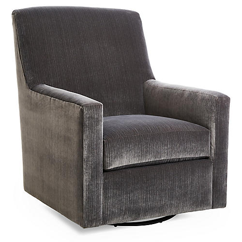 Conrad Swivel Club Chair, Charcoal