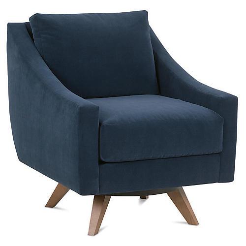 Nash Swivel Club Chair, Indigo Velvet