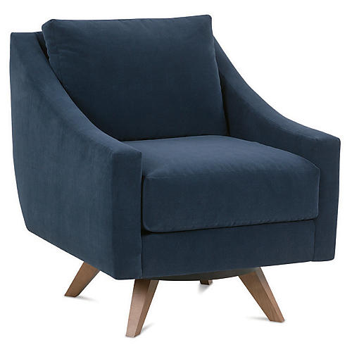Nash Club Chair, Indigo Velvet