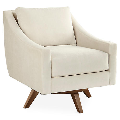 Nash Swivel Chair, Pearl Chenille