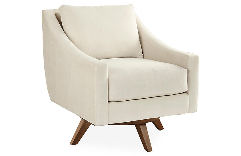 Nash Swivel Chair, Pearl Chenille Crypton