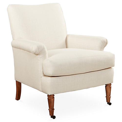 Avery Roll-Arm Chair, Natural Linen