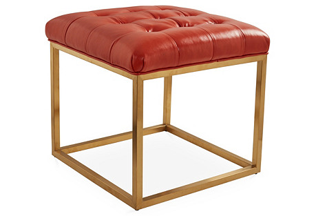 Emma Tufted Ottoman, Gold/Spice Leather