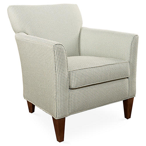 Julie Club Chair, Blue Chenille