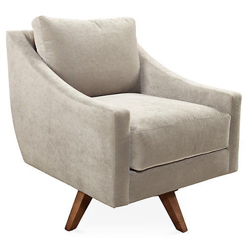 Nash Swivel Club Chair, Smoke Velvet