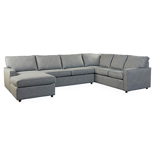 Toulouse Sectional, Blue Herringbone