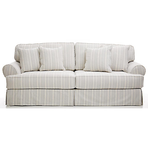 "Frances 96"" Sofa, Navy Stripe"