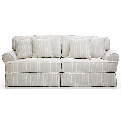 "Frances 96"" Sofa, Navy Stripe"