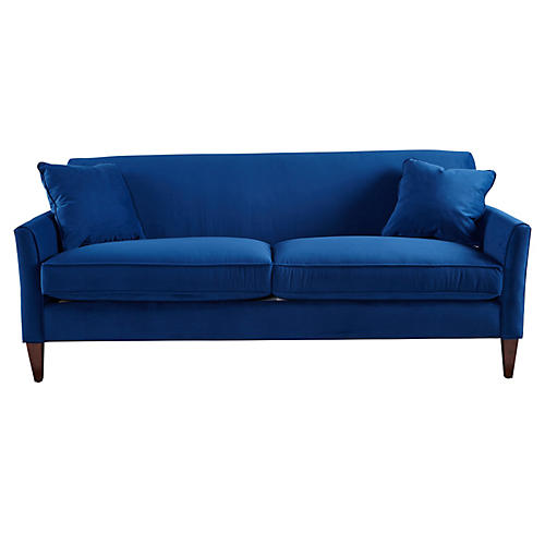 "Milo 80"" Sofa, Royal Blue Velvet"