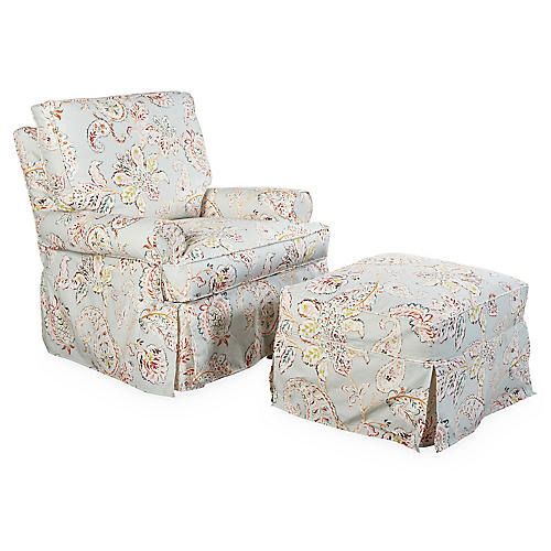 Lyn Swivel Club Chair, Light Aqua