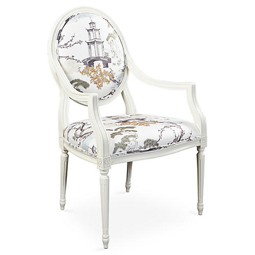 Laila Armchair, Moss/White