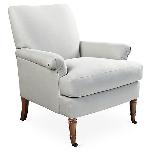 Avery Roll-Arm Chair, Seafoam