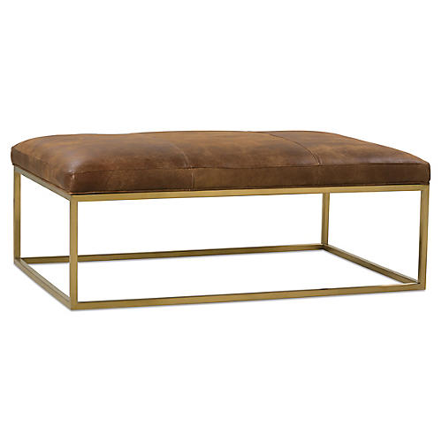 Percy Cocktail Ottoman, Caramel Leather