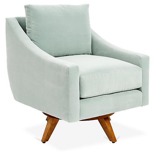 Nash Swivel Chair, Aqua Blue Crypton