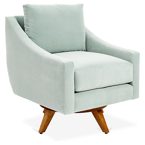 Nash Swivel Glider Chair, Aqua Blue Crypton