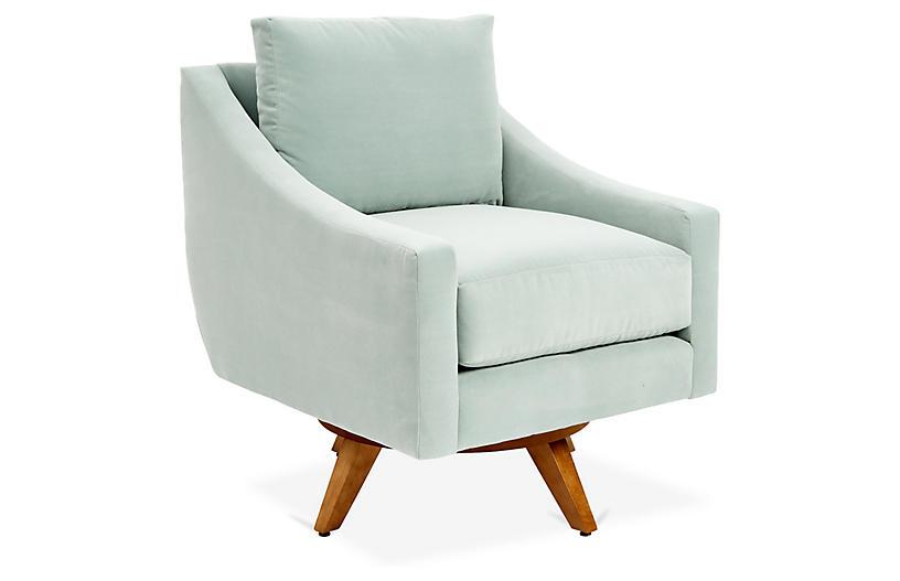 Nash Velvet Swivel Chair