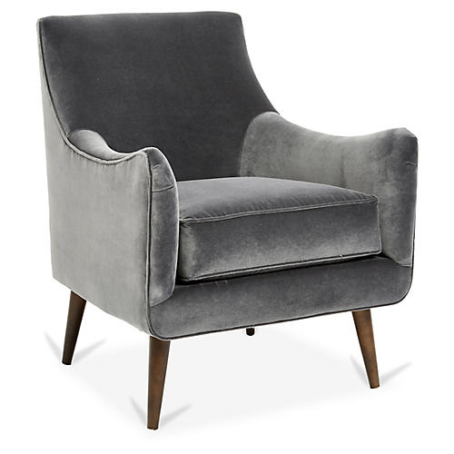 Oliver Accent Chair, Charcoal Velvet