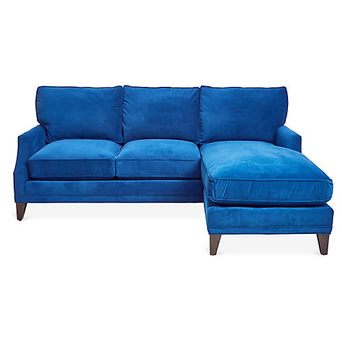 June Reversible Setional, Royal Blue Velvet