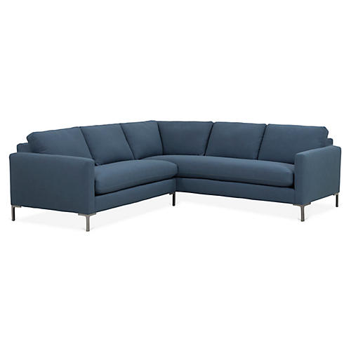 Amia Right-Facing Sectional, Indigo Crypton