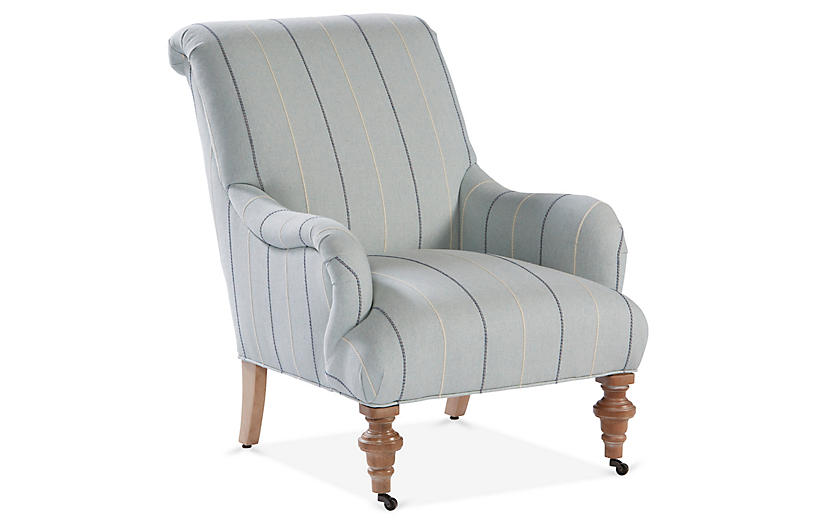 Carlyle Accent Chair, Mediterranean Blue