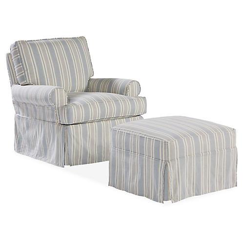 Sophie Swivel Chair & Ottoman Set, Federal Blue