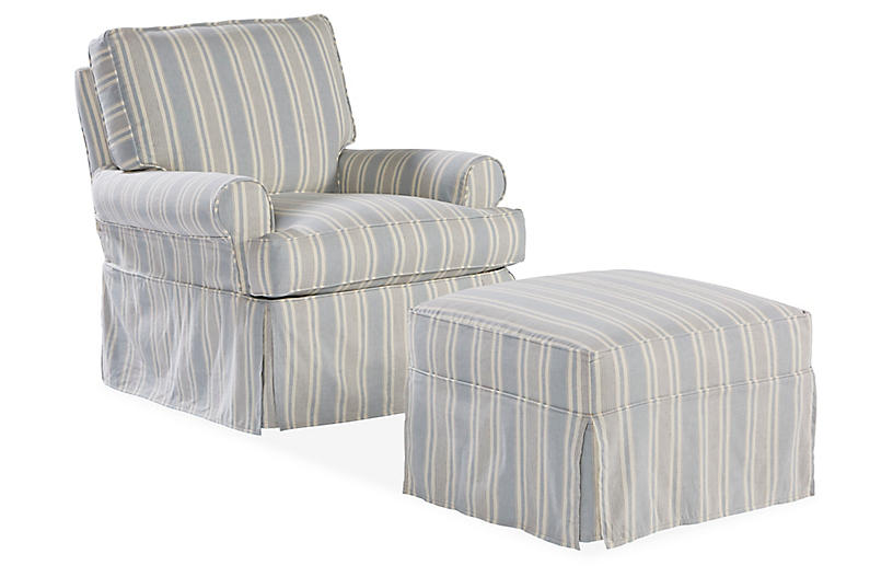 Sophie Swivel Chair & Ottoman Set, Federal Blue