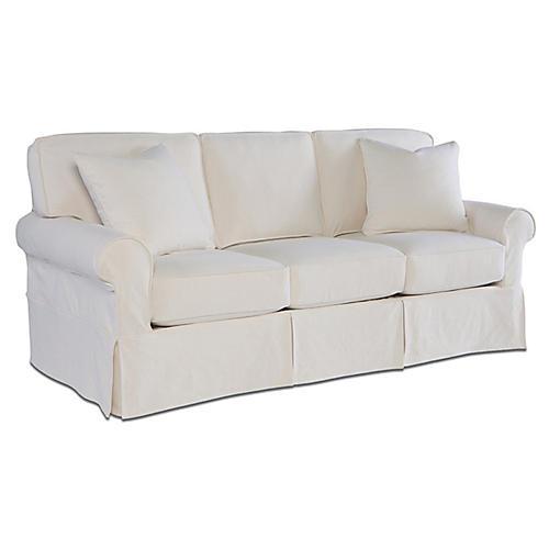 Ava Slipcover Sleeper Sofa, Cream