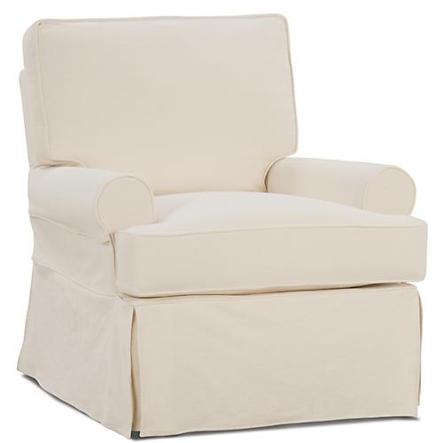 Ava Slipcover Swivel Chair, Cream