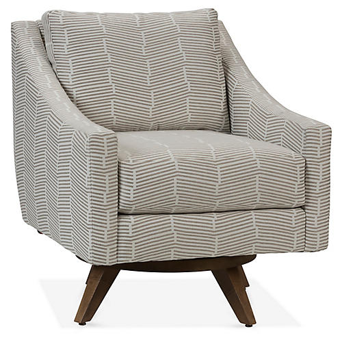 Nash Swivel Club Chair, Taupe