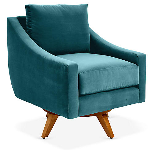 Nash Swivel Glider Chair, Peacock Crypton