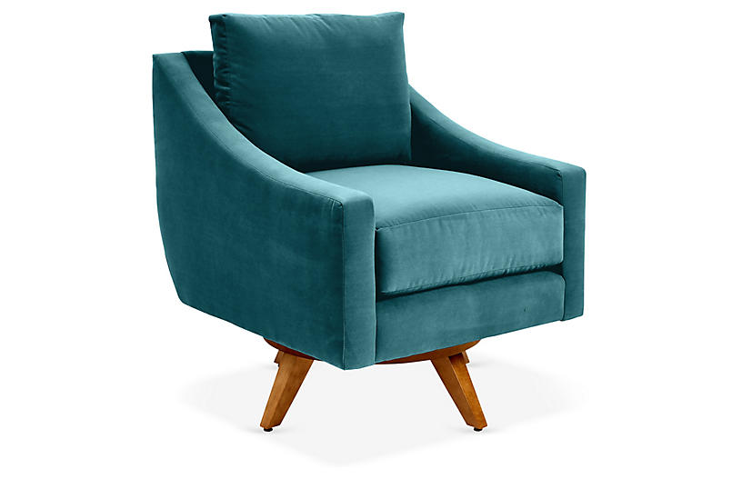 Nash Swivel Chair, Peacock Crypton