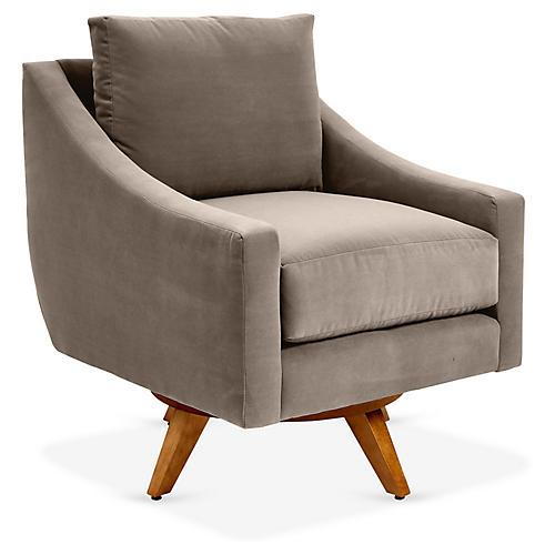 Nash Swivel Club Chair, Café Crypton