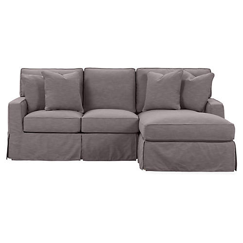 Rathel Right-Facing Sectional, Charcoal Crypton
