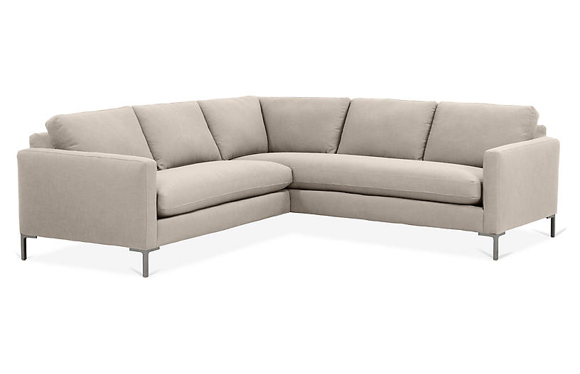 Amia Right-Facing Sectional, Greige Crypton