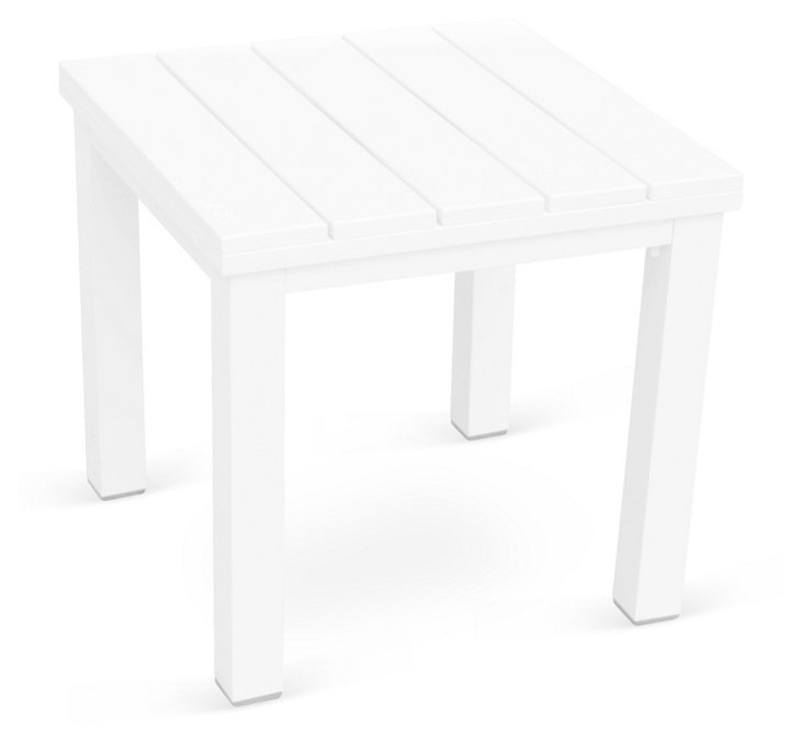 Fusion Slat Top End Table, White