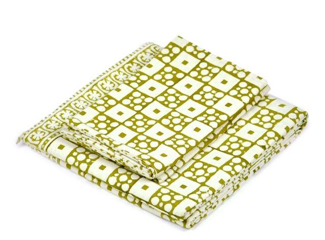 Block Flat Sheet Set, Henna