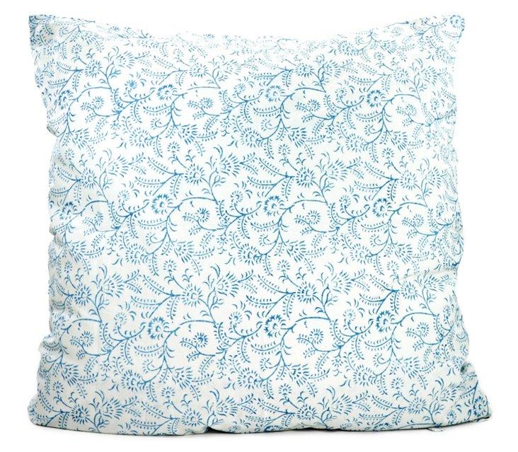 Ivy 26x26 Cotton Pillow, Indigo