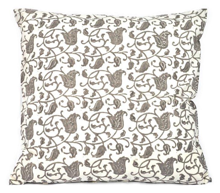 Flora 26x26 Cotton Pillow, Dusk Gray