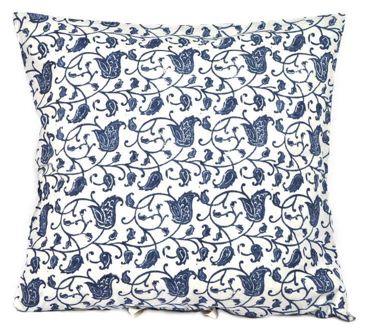 Flora 26x26 Cotton Pillow, Indigo
