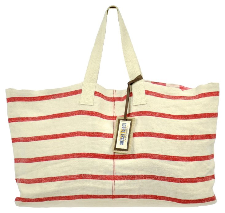 Large Chic Tote, Red Stripes