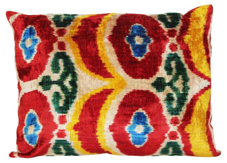 Ikat 16x22 Silk Velvet Pillow, Multi