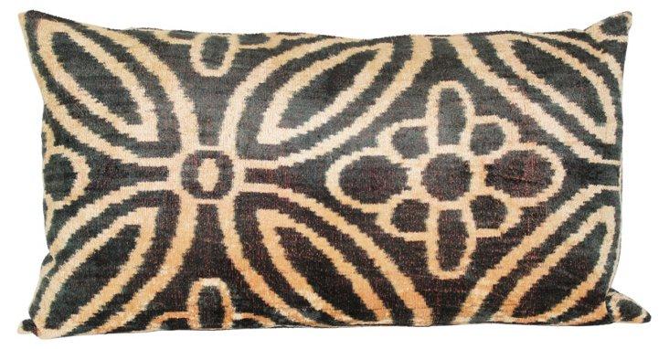 Patterned 15x27 Silk Pillow, Black