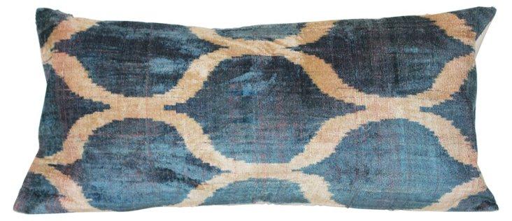 Victoria 15x31 Silk-Blended Pillow, Blue